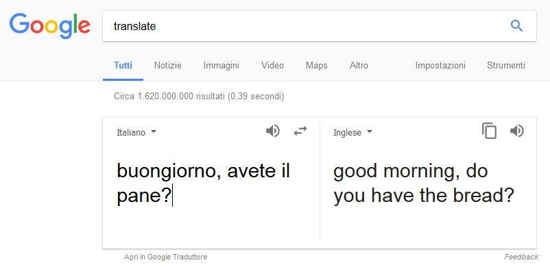 google translate italiano inglese esempio 1