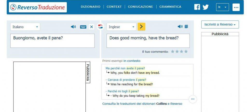 Traduzione con traduttore automatico online Reverso