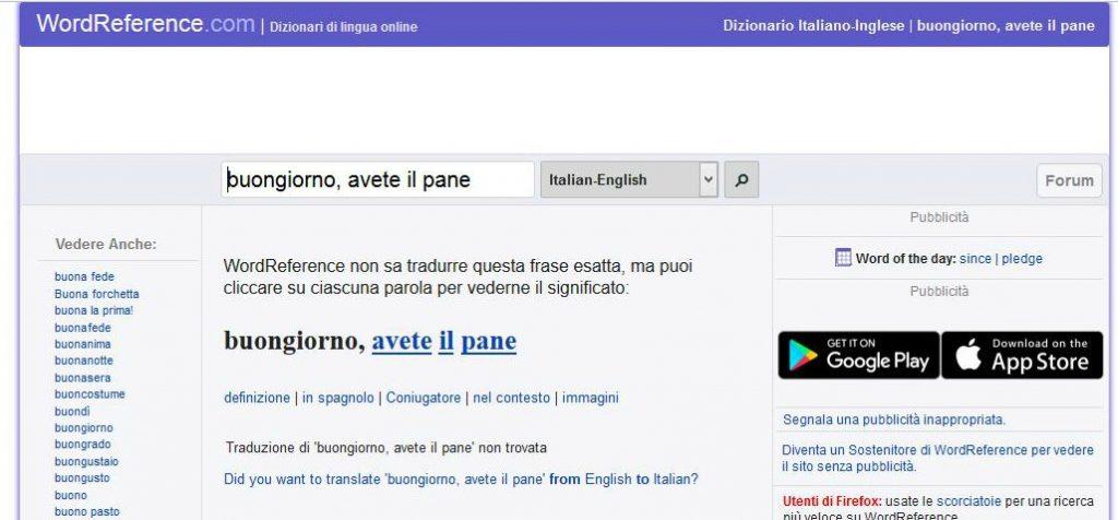 Traduzione con traduttore automatico online WordReference