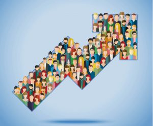 """promuovere una pagina facebook: immagine di una freccia riempita di persone, che simboleggia il concetto di """"audience in crescita"""""""