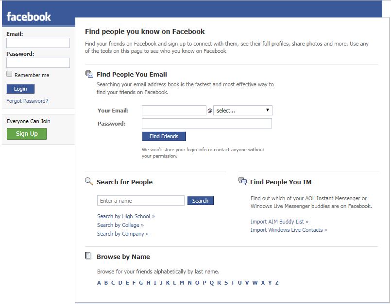 pagina di iscrizione a Facebook del 2008