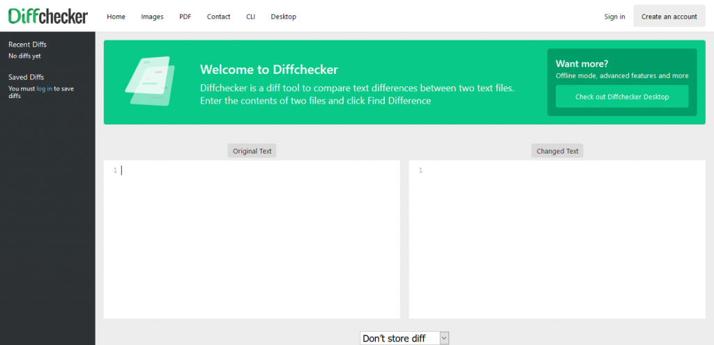 diffchecker confrontare due testi