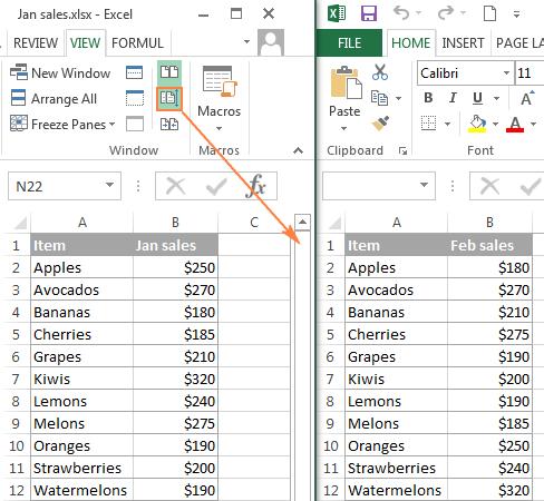 comparare due file Excel visualizzazione affiancata