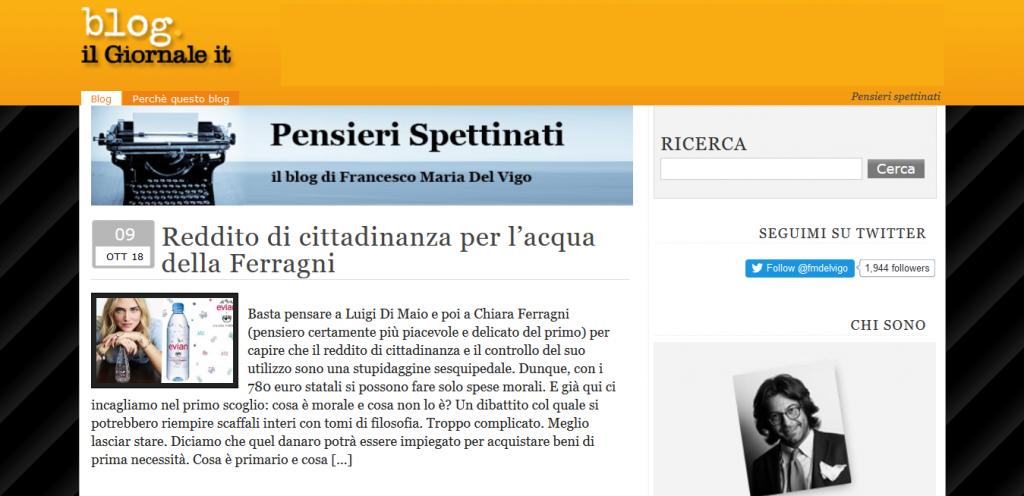 Francesco Maria Del Vigo blog Pensieri Spettinati Il Giornale