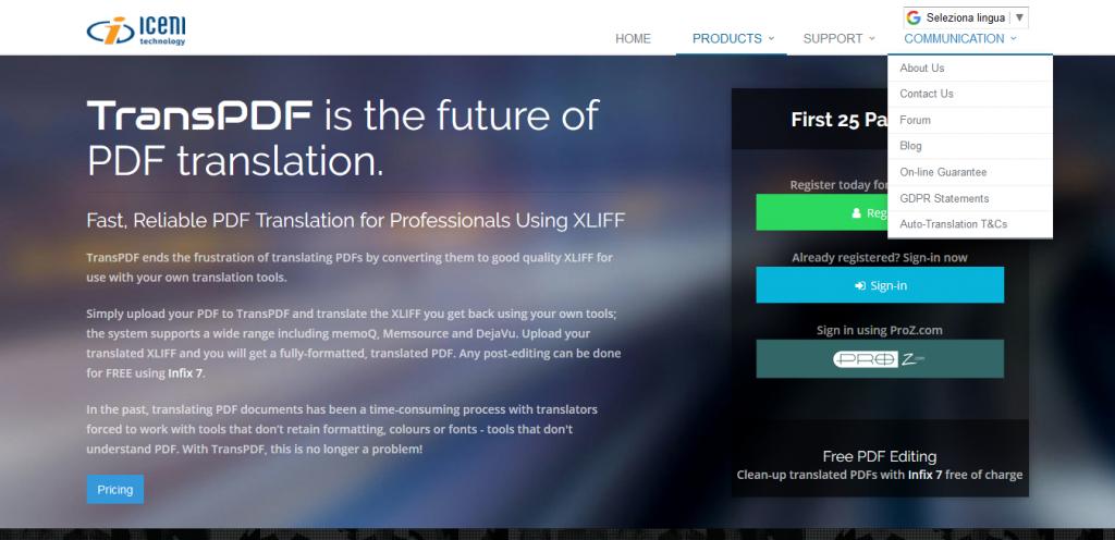 TransPDF tradurre un PDF