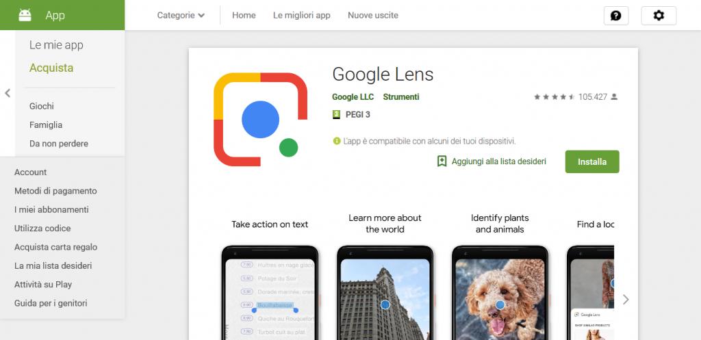 App per tradurre Google Lens