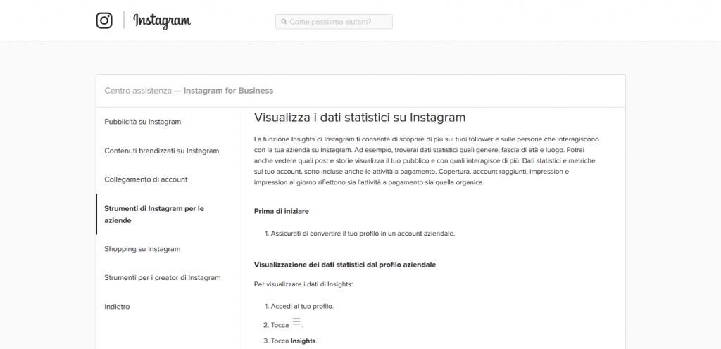 Instagram Insights analizzare il profilo instagram