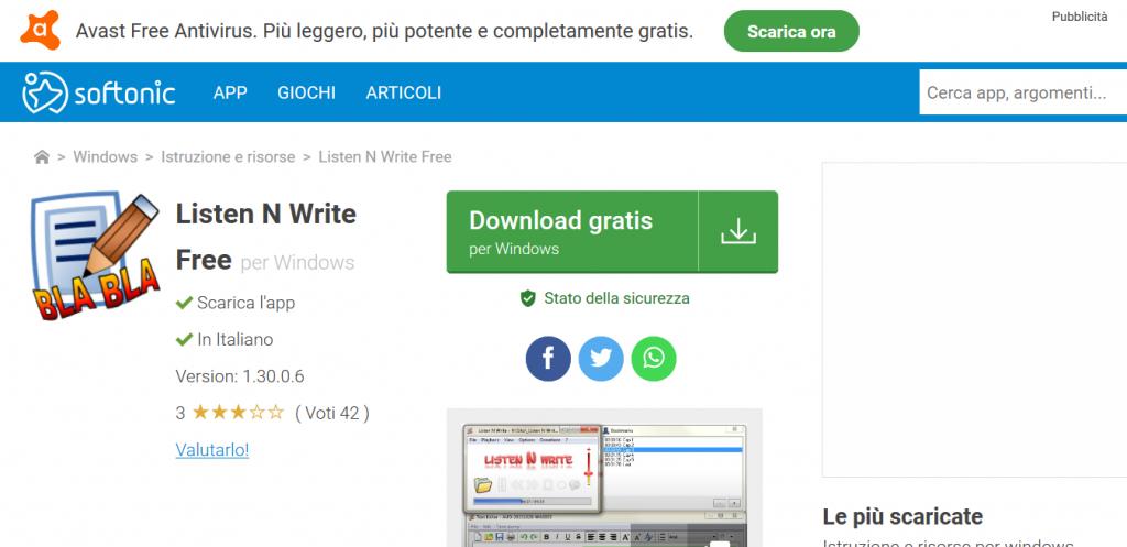 Listen N Write software trascrizione
