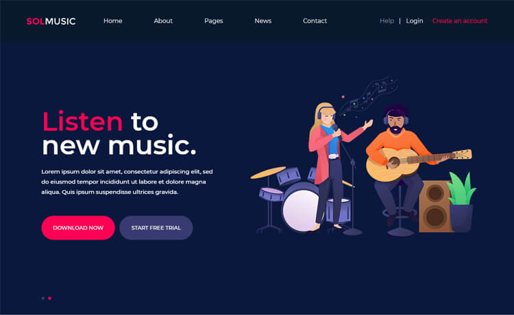 Solmusic landing page template
