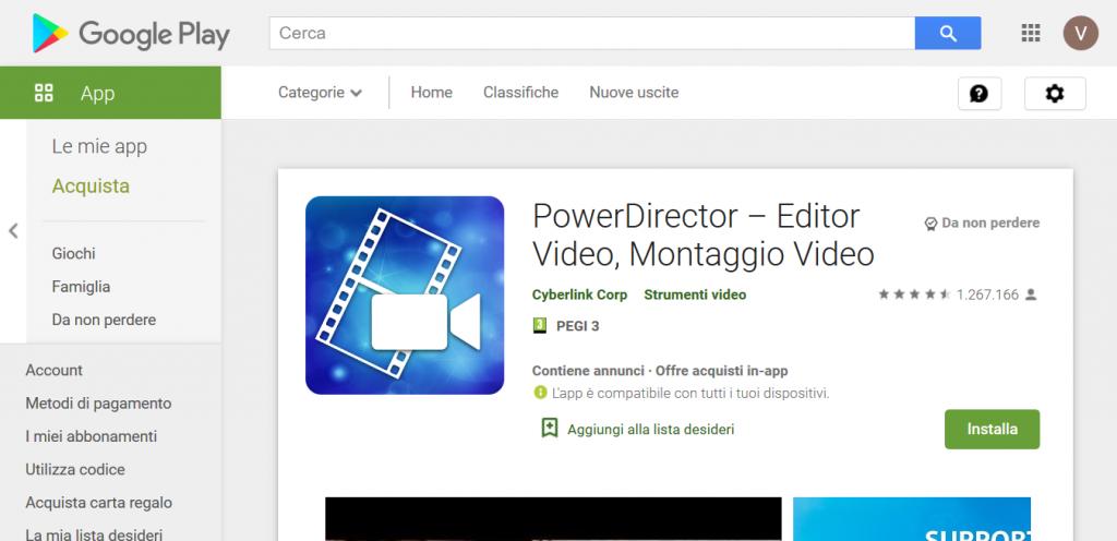 power director app montaggio video