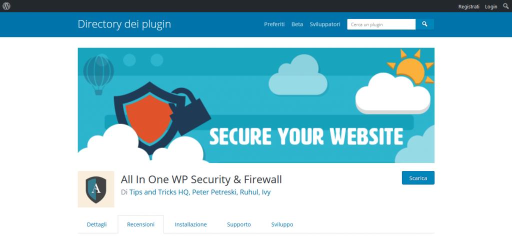 wordpress plugin All In One Security&Firewall
