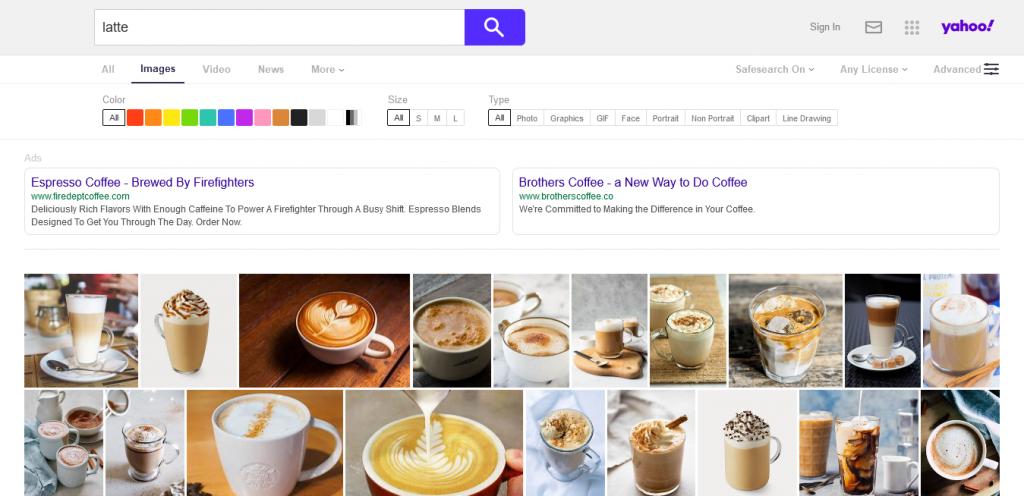 motore di ricerca immagini Yahoo Image